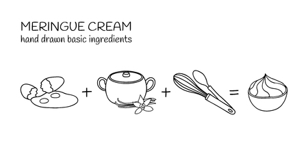 Hand drawn ingredients for meringue cream.
