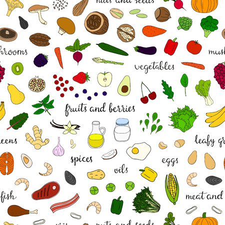 Seamless pattern with paleo diet foods.