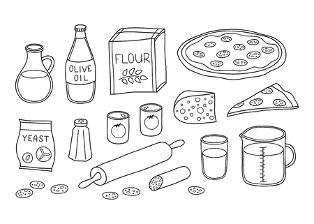 Set of hand drawn outline ingredients for pepperoni pizza isolated on white background.