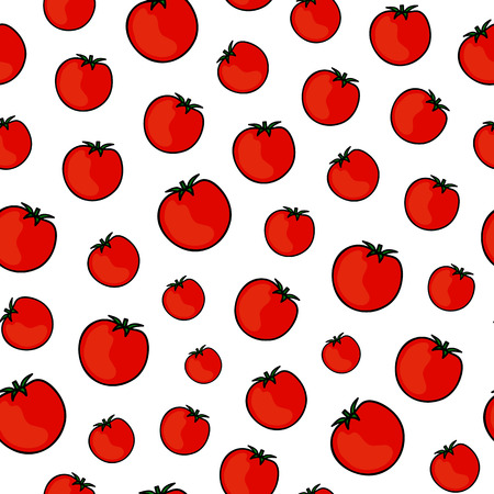 Seamless pattern with hand drawn colored red tomatoes. Vector illustration.