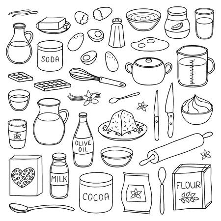 Set of hand drawn cooking, baking ingredients.