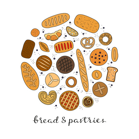 Hand drawn bread and pastries in circle. Ilustrace