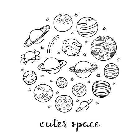 Different fantastic space planets in circle. Ilustrace