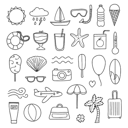 Set of doodle summer and vacation items.