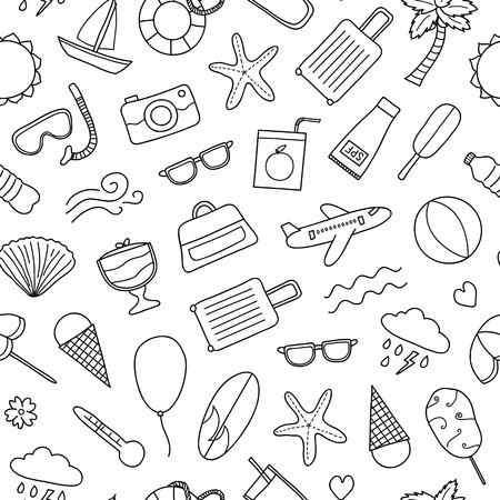 Seamless pattern with doodle summer items.
