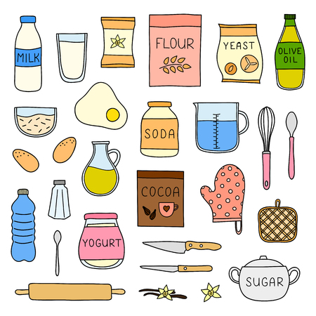 Set of doodle cooking, baking ingredients.