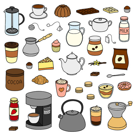 Set of hand drawn coffee, tea and cocoa items.