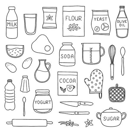 Set of doodle cooking, baking ingredients.