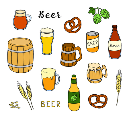 Set of hand drawn colored beer items. Ilustrace