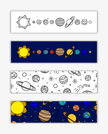 Horizontal banners with planets and stars.