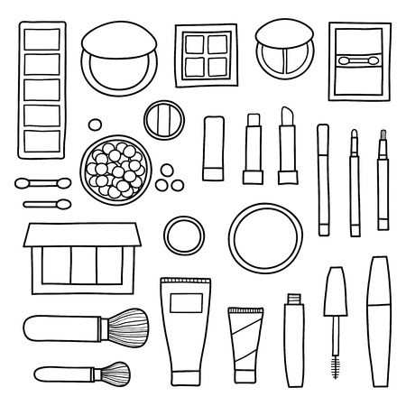 Hand drawn collection of decorative cosmetics. Different beauty makeup products including powder, concealer, blushes, mascara, lipstick, foundation, eye shadows, brushes isolated on white background. Reklamní fotografie - 115189996