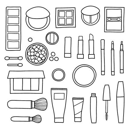 Handgezeichnete Sammlung dekorativer Kosmetik. Verschiedene Beauty-Make-up-Produkte wie Puder, Concealer, Rouge, Mascara, Lippenstift, Foundation, Lidschatten, Pinsel einzeln auf weißem Hintergrund.
