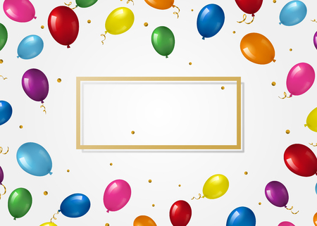 Background with helium balloons and frame.