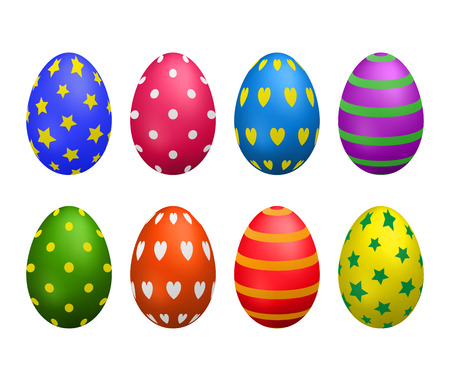 Set of painted colorful eggs.