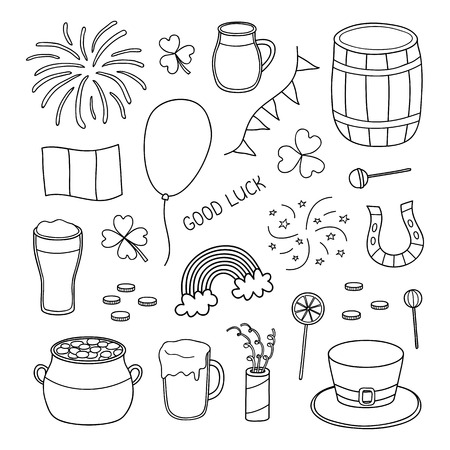 Set of hand drawn outline items for Saint patricks day celebration isolated on white background.