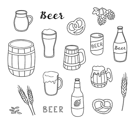 Set of hand drawn outline beer in mug, bottle, can and wooden keg isolated on white background. Standard-Bild - 115183631
