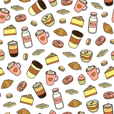 Seamless pattern with hand drawn coffee and desserts. Ilustrace