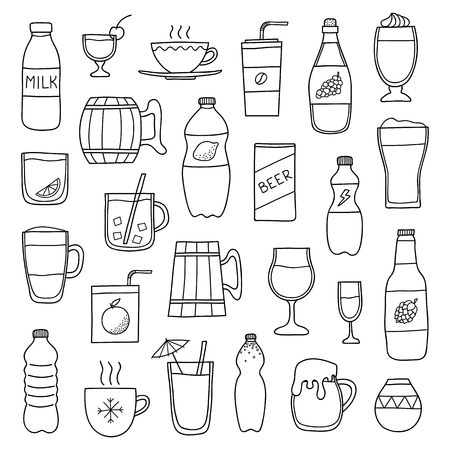 Set of different doodle outline liquid drinks isolated on white background. Reklamní fotografie - 115183632