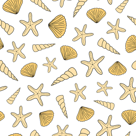 Seamless pattern with doodle seashells.