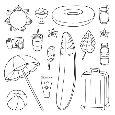 Set of hand drawn outline summer and vacation items isolated on white background.