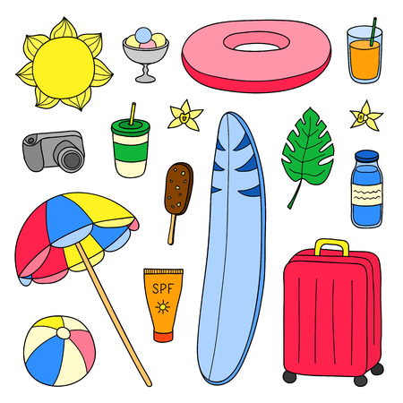 Set of hand drawn summer and vacation items. Ilustrace