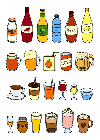 Set of different hand drawn colorful liquid drinks isolated on white background.