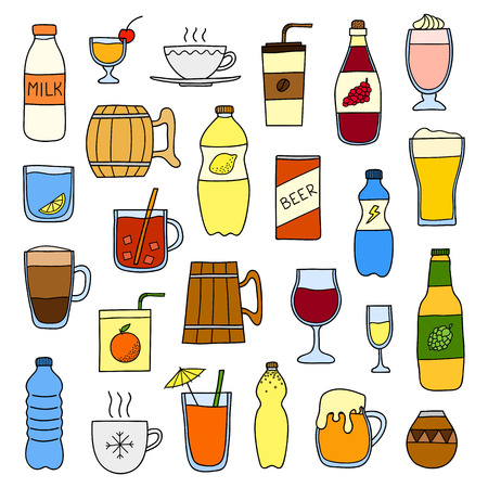 Set of different doodle colorful liquid drinks isolated on white background. Ilustrace