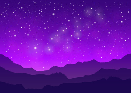 Violet space landscape with milky way, mountains silhouette, and stars. Ilustrace