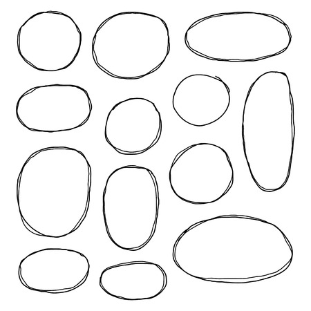Set of hand drawn sketched circle frames isolated on white background. Standard-Bild - 114881240