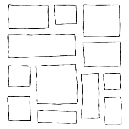 Set of hand drawn sketched square frames isolated on white background. Reklamní fotografie - 114881242