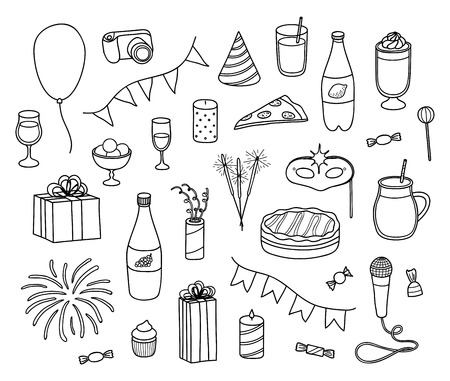 Set of hand drawn outline party items isolated on white background. Reklamní fotografie - 114881243