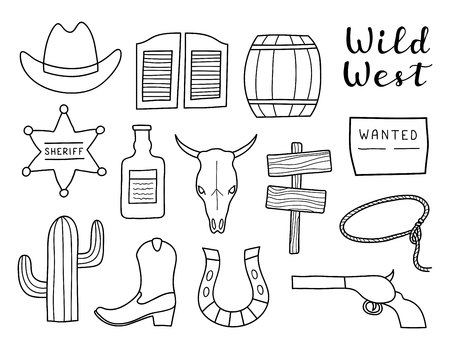Set of hand drawn outline Wild West elements isolated on white background. Standard-Bild - 114881245