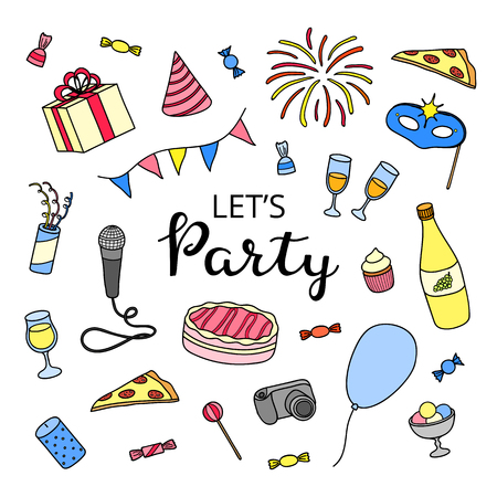 Poster with hand drawn colored party items and lettering.