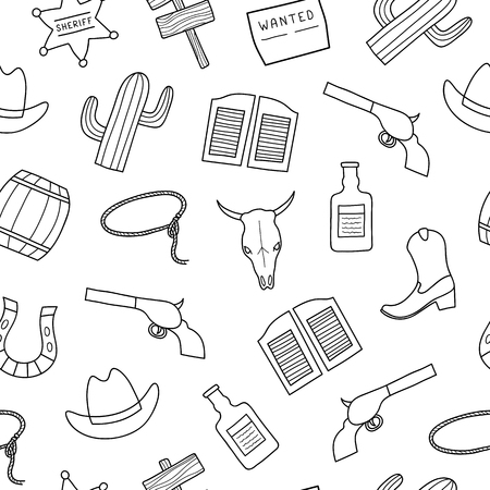 Black and white seamless pattern with hand drawn outline Wild West elements. Standard-Bild - 114881247