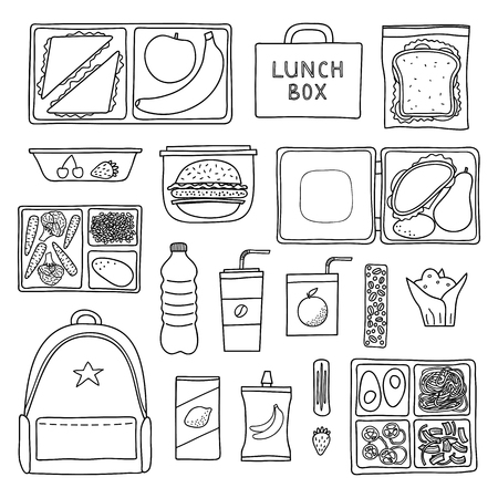 Set of hand drawn outline packed lunch boxes isolated on white background. Reklamní fotografie - 114881250