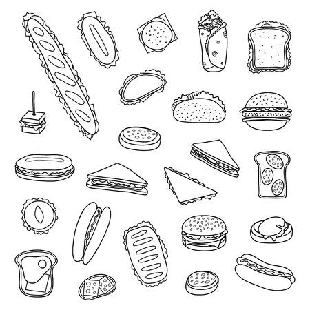 Set di panini e hamburger disegnati a mano. Illustrazione vettoriale.