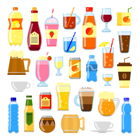Set of different flat colorful liquid drinks isolated on white background. Ilustrace