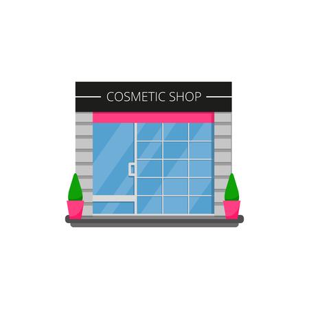 Modern cosmetic shop store. Vector illustration. Ilustrace