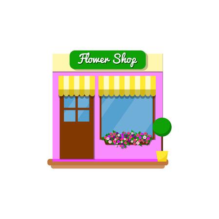Small flower shop store. Vector illustration.