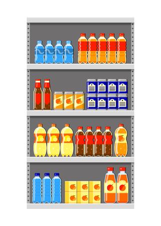 Different flat liquid drinks on supermarket shelf isolated on white background.