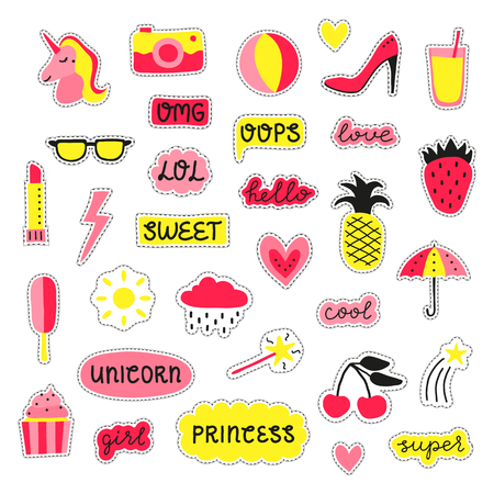 Collection of girly pop stickers, patches, pins in pink and yellow colors isolated on white background. Standard-Bild - 114881254