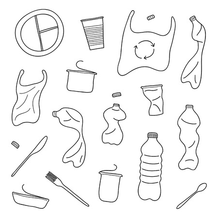 Set of hand drawn outline plastic trash isolated on white background.