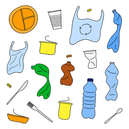 Set of hand drawn colored plastic trash isolated on white background.