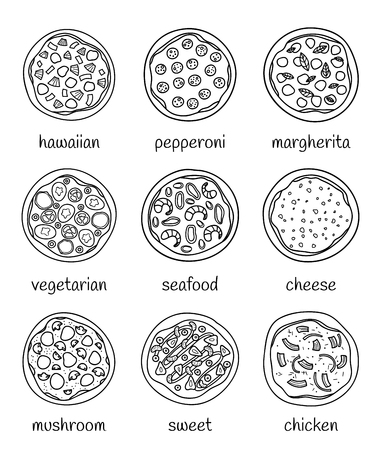Set of different doodle outline pizza isolated on white background with names. Reklamní fotografie - 114881261
