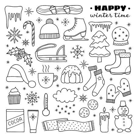 Collection d'articles d'hiver de contour dessinés à la main mignons isolés sur fond blanc.