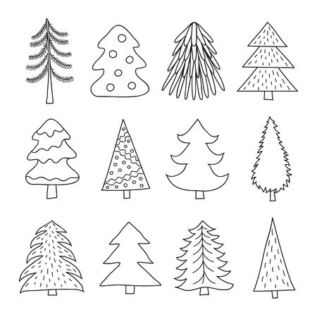 Set of different doodle outline fir trees isolated on white background.