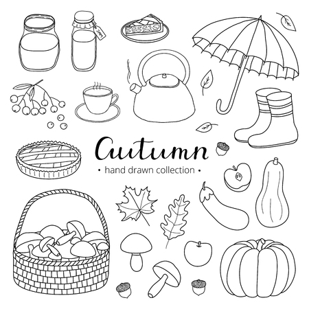 Collection of hand drawn outline autumn items isolated on white background with lettering. Illustration