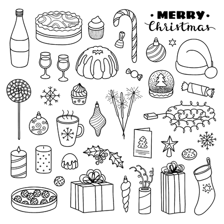 Big collection of Christmas and New Year holiday hand drawn outline items isolated on white background. Standard-Bild - 114881266