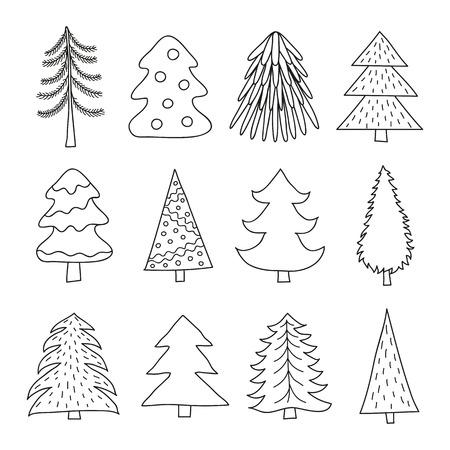 Set of doodle fir trees. Vector illustration.
