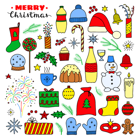Big collection of Christmas and New Year holiday doodle colored items isolated on white background. Ilustrace